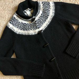 Jillian Jones black white ethnic bomber sweater